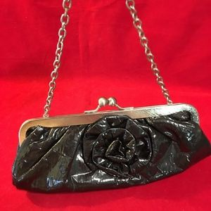 Black Wet Look Floral Applq Evening Bag